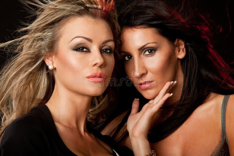 Zwei Schönheiten blond und Brunette lizenzfreies stockbild