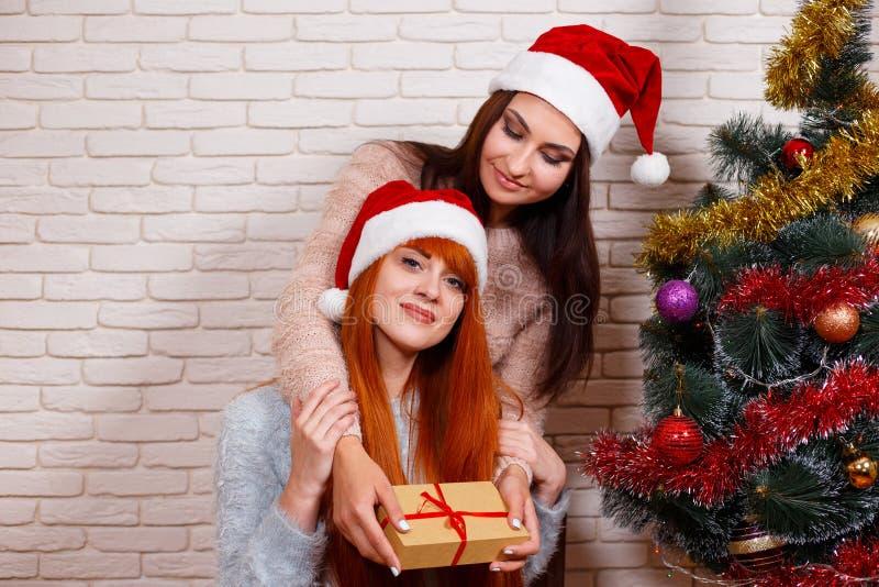 Zwei Schönheiten, die Weihnachten beim Sankt-Kappenteilen feiern lizenzfreie stockfotografie