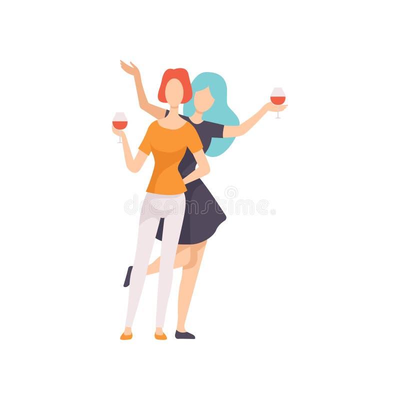 Zwei Schönheits-Freunde, die zusammen Wein, Mädchen-Feier, weibliche Freundschafts-Vektor-Illustration trinken lizenzfreie abbildung