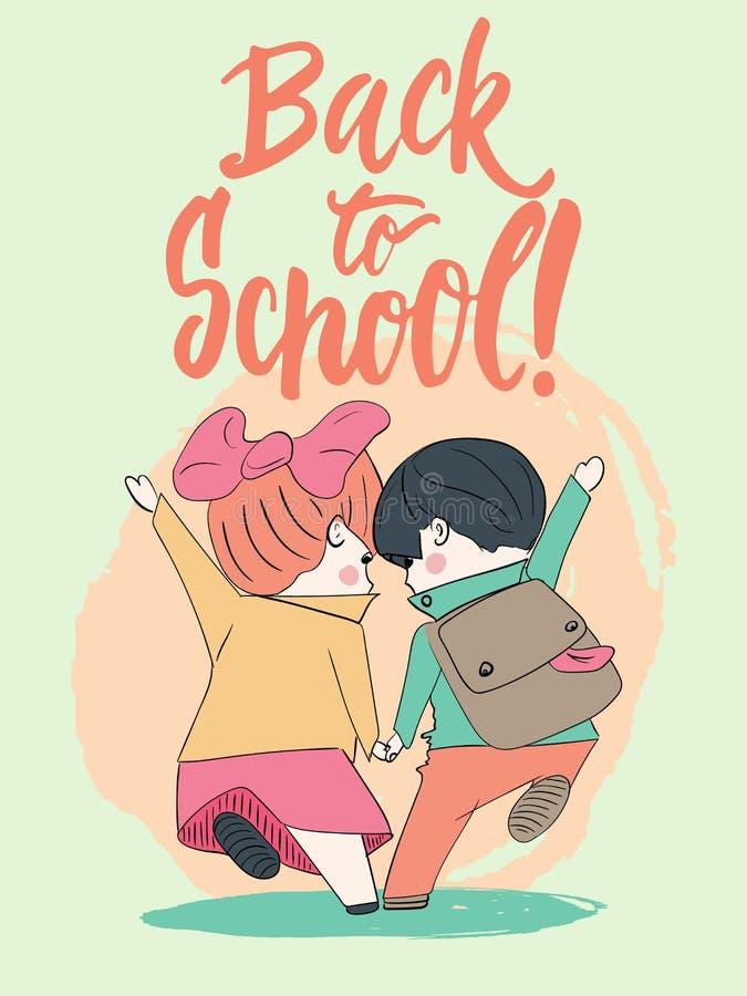 Zwei Schüler, Junge und Mädchen, die zum Schulhändchenhalten laufen Hand gezeichnet, Phrase zurück zu Schule beschriftend Vektor stock abbildung