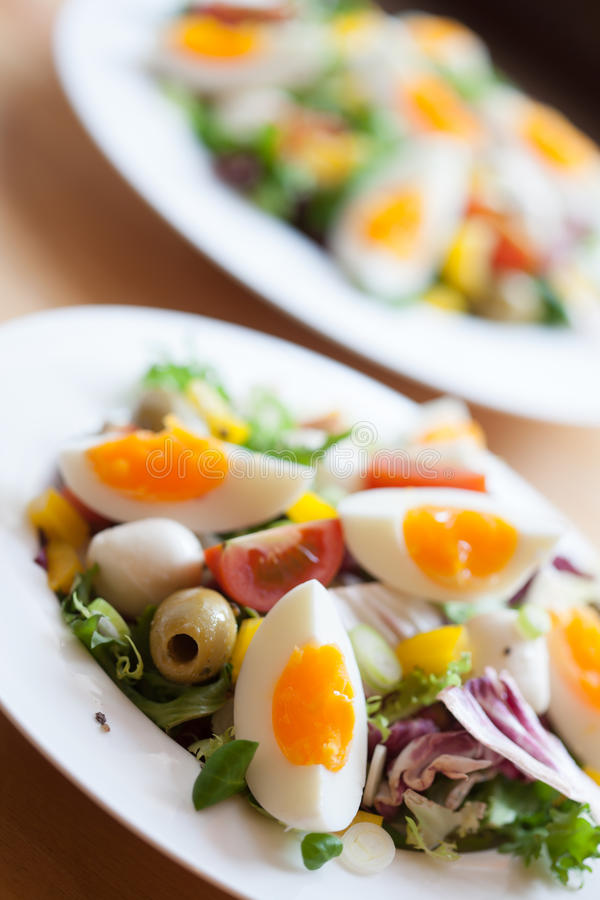 Zwei Schüsseln köstlicher frischer Salat mit Mozzarella lizenzfreie stockfotos