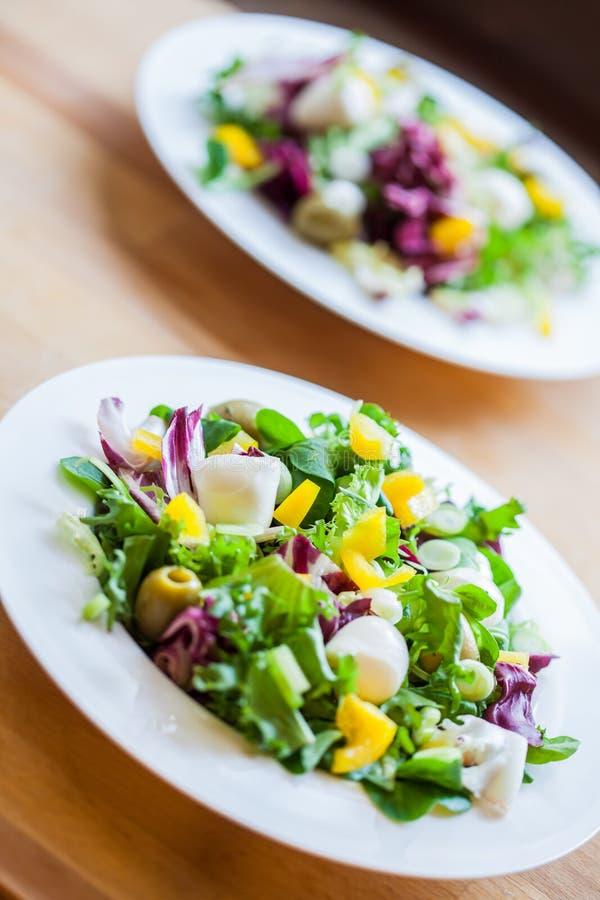 Zwei Schüsseln köstlicher frischer Salat mit Mozzarella und Pfeffer stockbilder