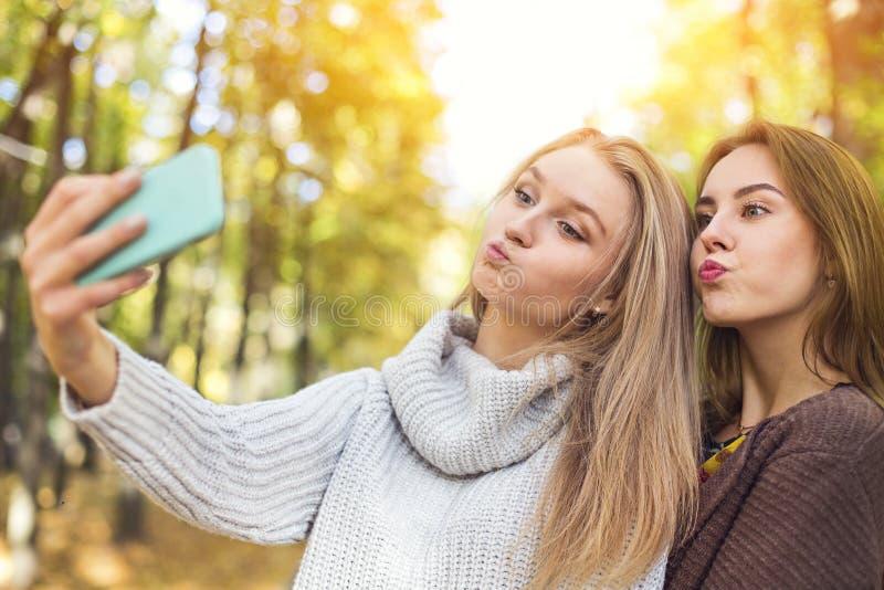 Zwei sch?ne junge Frauen, die selfie im Herbstpark machen stockfotos