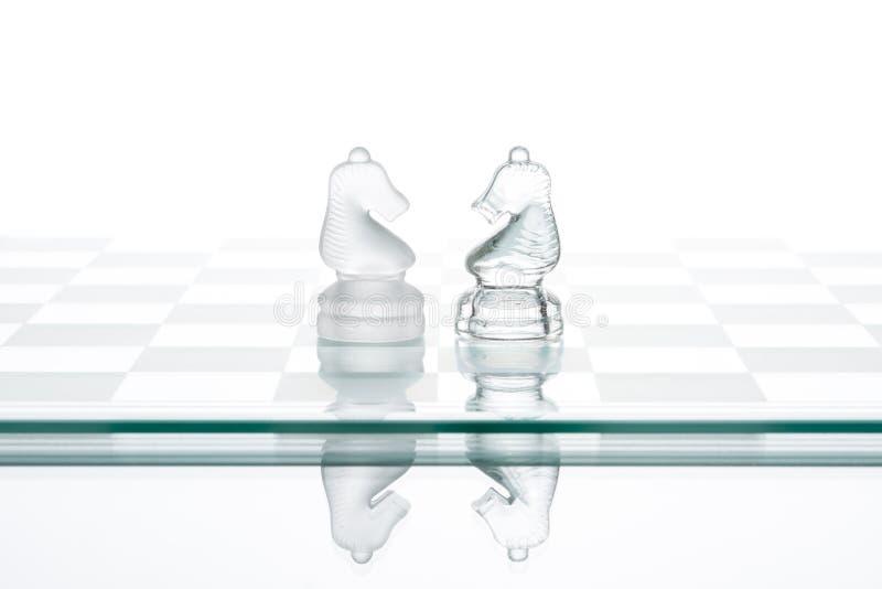Zwei Schachpferde, vertraulicher Krieg des Geschäfts lizenzfreie stockfotos