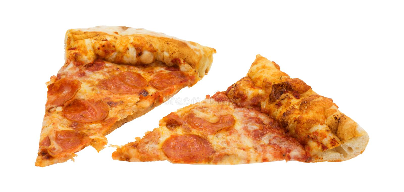 Zwei Scheiben Pepperonipizza auf einem weißen Hintergrund stockfotos