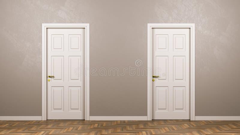 Zwei schlossen weiße Türen in der Front im Raum stock abbildung