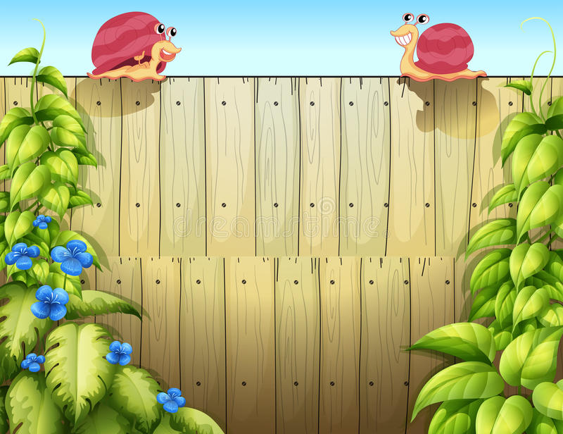 Zwei Schnecken über dem Zaun stock abbildung