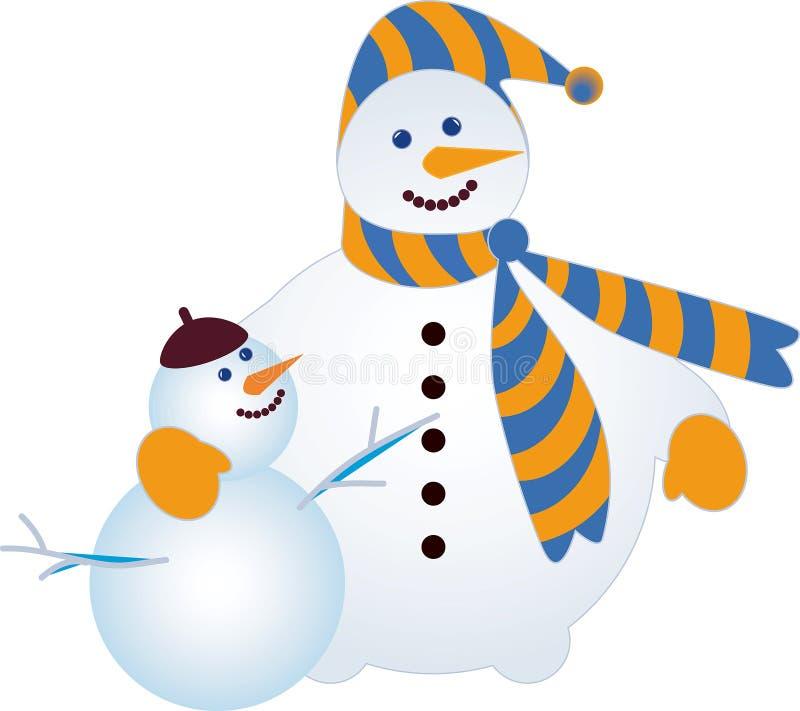Zwei Schneemänner lizenzfreie abbildung