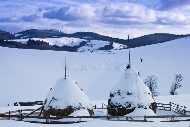 Zwei schneiten Heuschober stockfoto