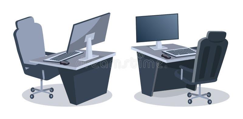 Zwei Schreibtische mit Computer-Vektor-Illustration vektor abbildung