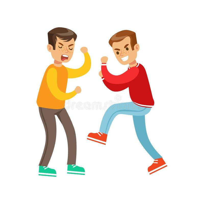 Zwei schreiende Jungen-Faust-Kampf-Positionen, aggressiver Tyrann in der langärmligen roten Spitze ein anderes Kind kämpfend, das vektor abbildung