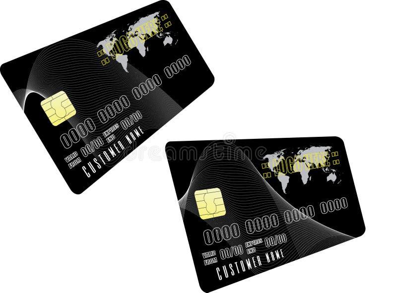 Zwei schwarze Kreditkarten stock abbildung