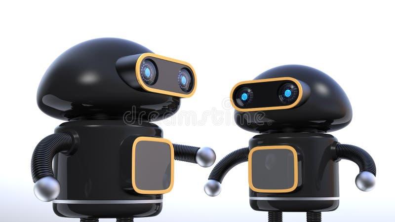 Zwei schwarze Roboter haben Schwätzchen auf weißem Hintergrund vektor abbildung
