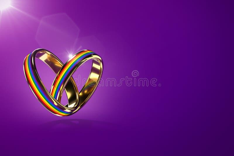Zwei schwebende Eheringe mit Regenbogenfarben lokalisiert auf purpurrotem Hintergrund Gleiche Rechtbewegung f?r homosexuelle Ehen vektor abbildung