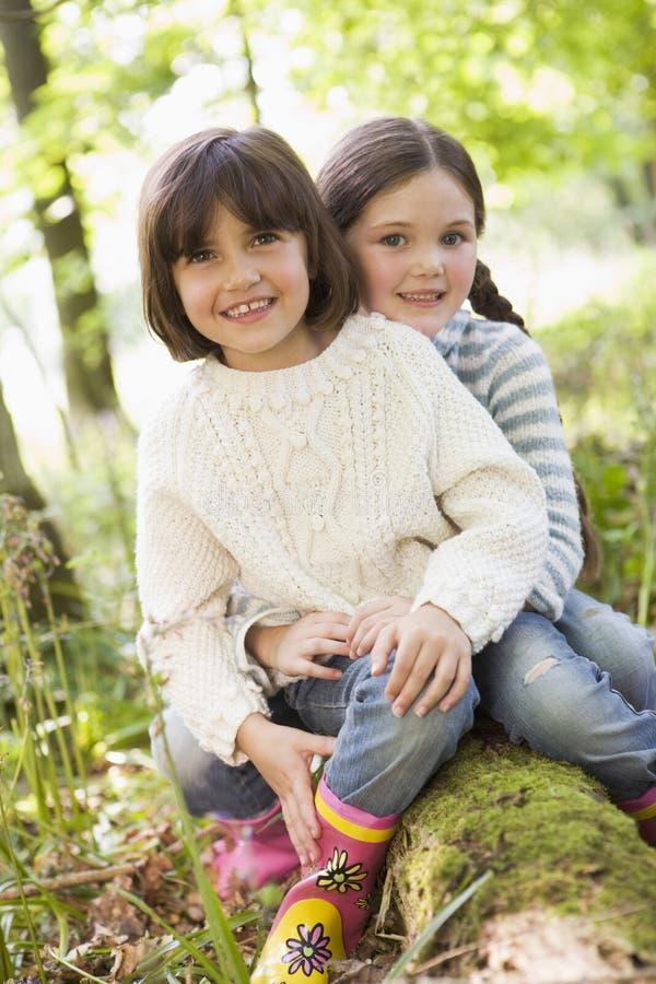 Zwei Schwestern draußen im Holz, das auf Protokoll sitzt lizenzfreie stockfotos