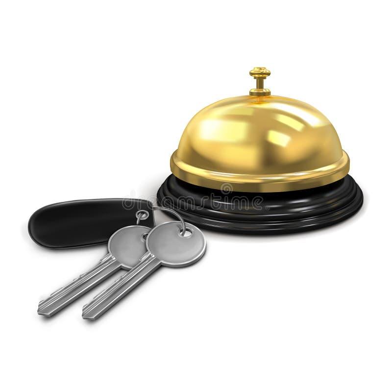 Zwei silberne Schlüssel mit einem schwarzen keychain von der Hotelzimmer- und Hotelservice-Glockengoldfarbe stock abbildung