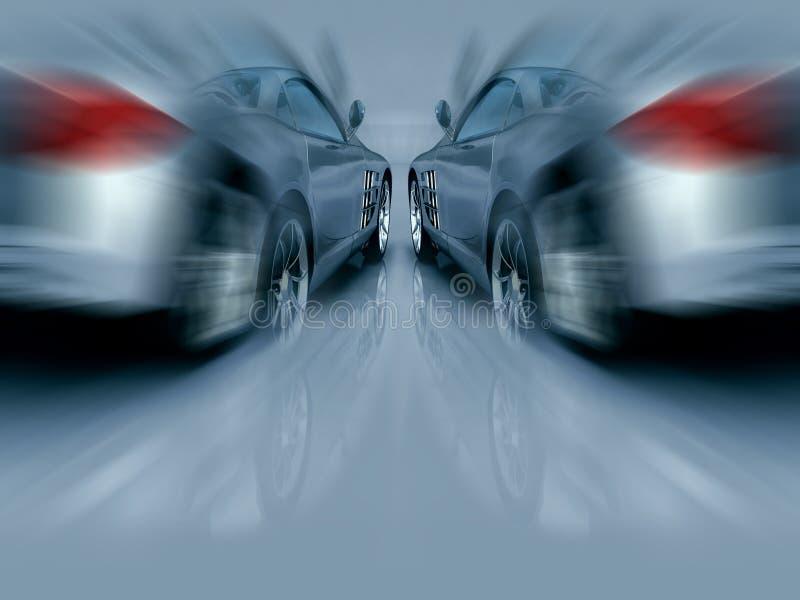 Zwei silberne Sport-Autos in der Bewegung lizenzfreie abbildung