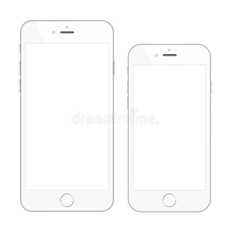 Zwei Smartphone-Vektorillustrationen der hohen Qualität weiße lokalisiert vektor abbildung