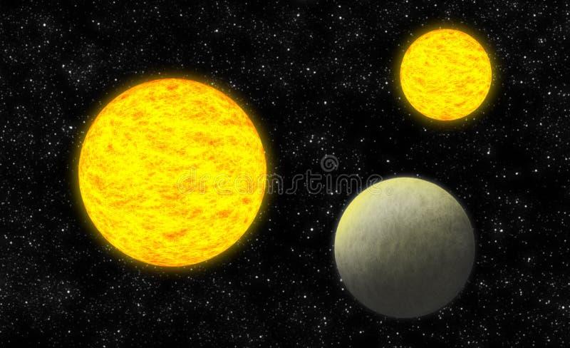 Zwei Sonnen vektor abbildung