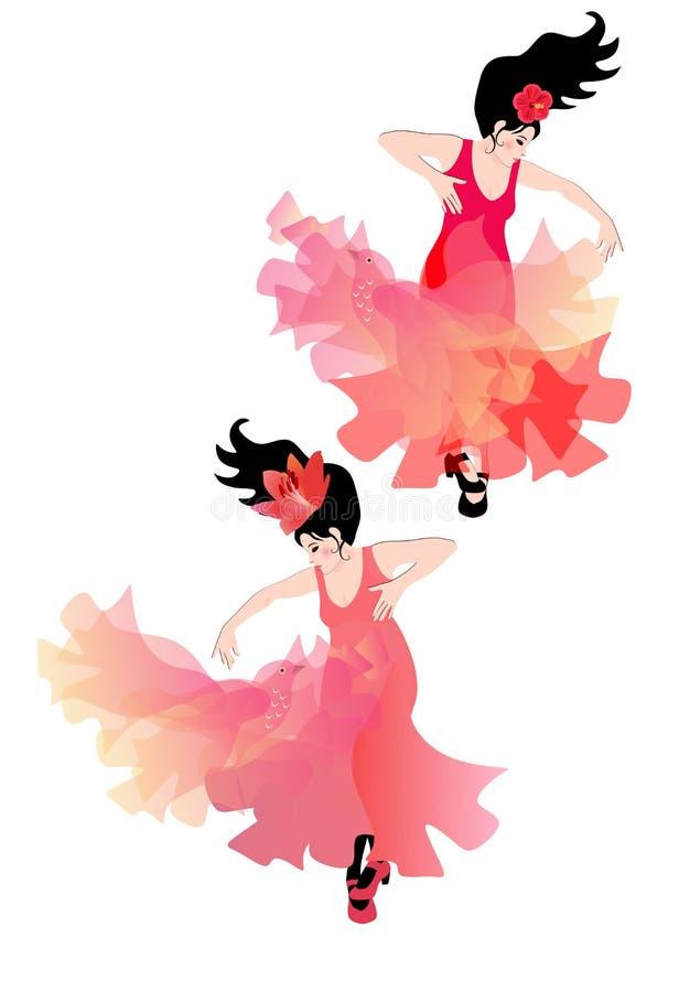 Zwei Spanierinnen tanzen Flamenco ausdrucksvoll mit lichtdurchl?ssigen Schalen, die wie Fliegenv?gel aussehen lizenzfreie abbildung
