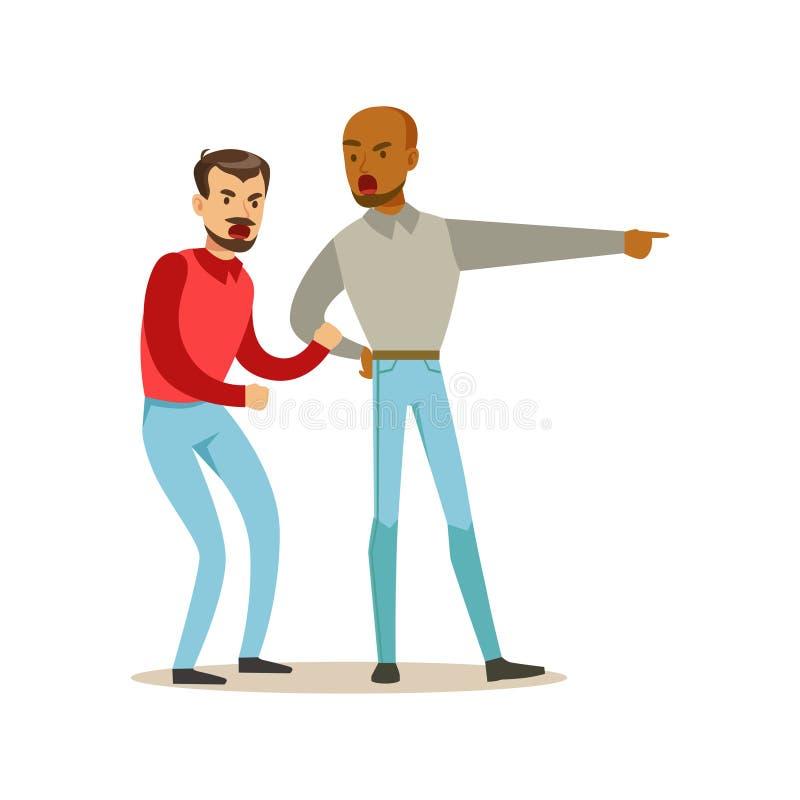 Zwei störten die Manncharaktere, die auf einander, negative Gefühlkonzept-Vektor Illustration argumentieren und schreien vektor abbildung