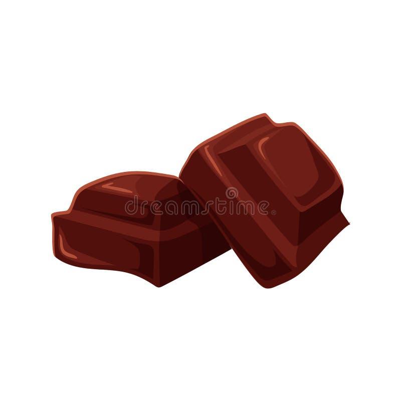 Zwei Stücke Schokolade getrennt auf weißem Hintergrund vektor abbildung