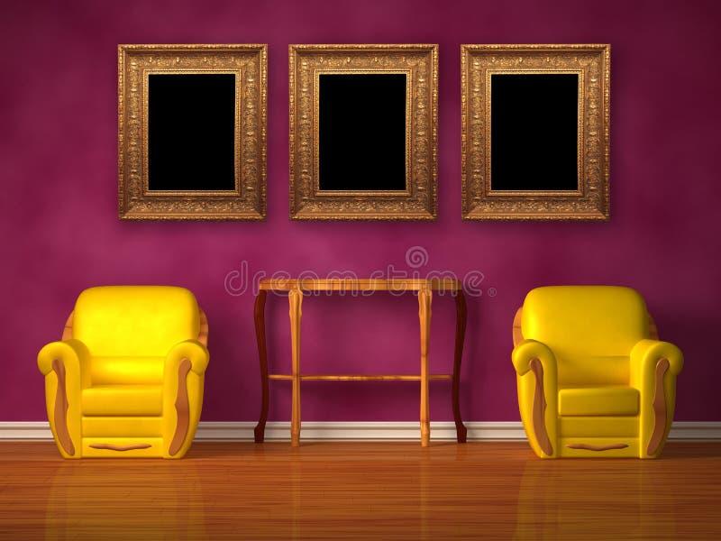 Zwei Stühle mit hölzerner Konsole und Bilderrahmen vektor abbildung