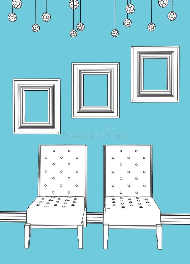 Zwei Stühle mit leeren Feldern im blauen Innenraum lizenzfreie abbildung