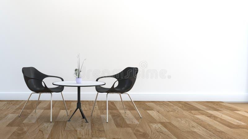 Zwei Stühle und Speisetisch, Bretterboden und whitte Wand Wiedergabe 3d lizenzfreie abbildung
