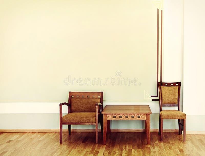 Zwei Stühle und Tabelle lizenzfreies stockbild