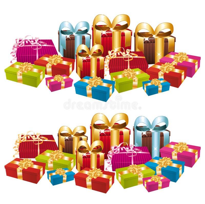 Zwei Stapel der bunten festlichen Geschenke. lizenzfreie abbildung