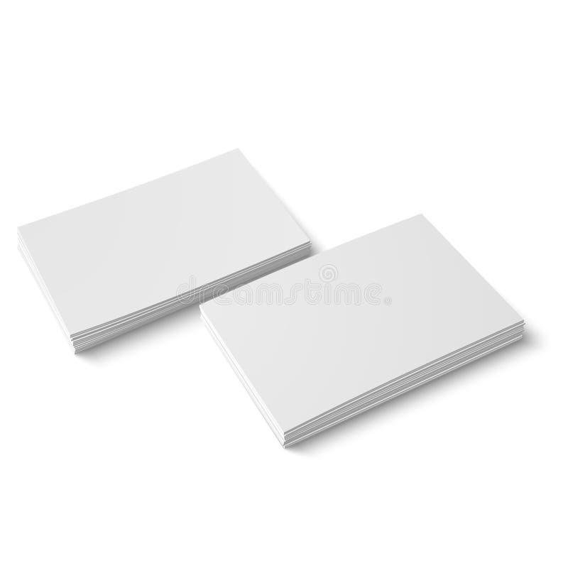 Zwei Stapel der leeren Visitenkarte. stock abbildung