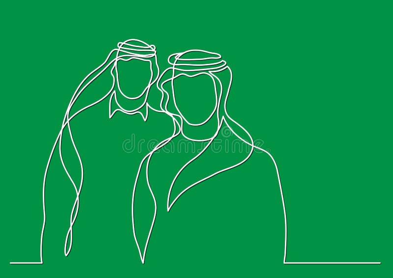 Zwei stehende arabische Männer im keffiyeh - Federzeichnung der einzelnen Zeile lizenzfreie abbildung
