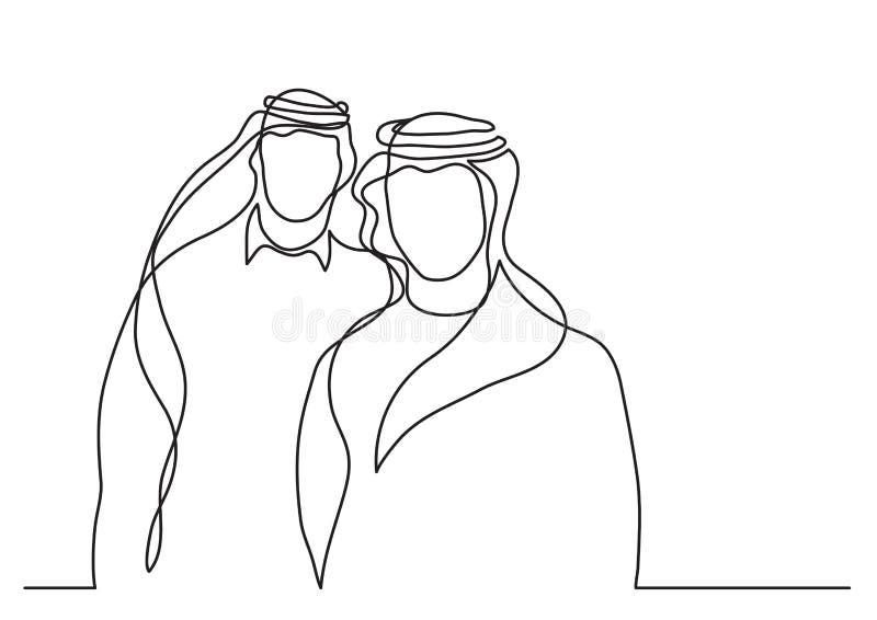 Zwei stehende arabische Männer im keffiyeh - Federzeichnung der einzelnen Zeile stock abbildung