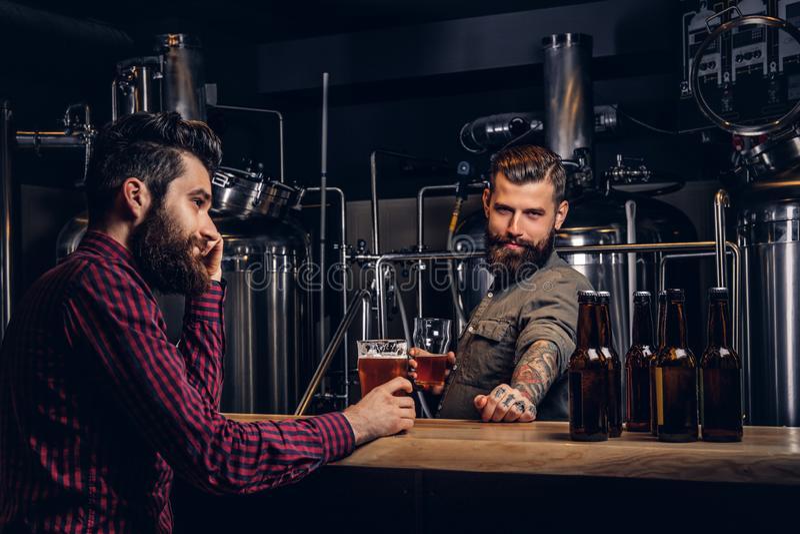 Zwei stilvolle bärtige Hippie-Freunde, die zusammen Handwerksbier an der indie Brauerei trinken lizenzfreies stockfoto