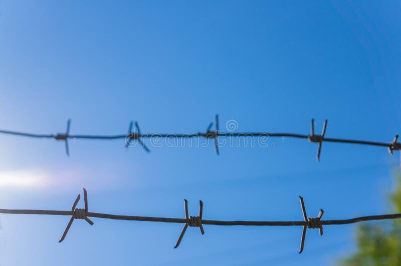 Zwei Stränge Stacheldraht gegen einen blauen Himmel Weicher Fokus lizenzfreies stockfoto