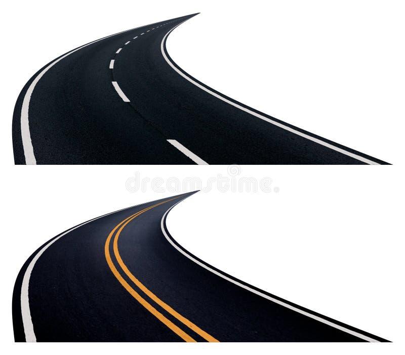 Zwei Straßen mit Drehung lizenzfreie abbildung