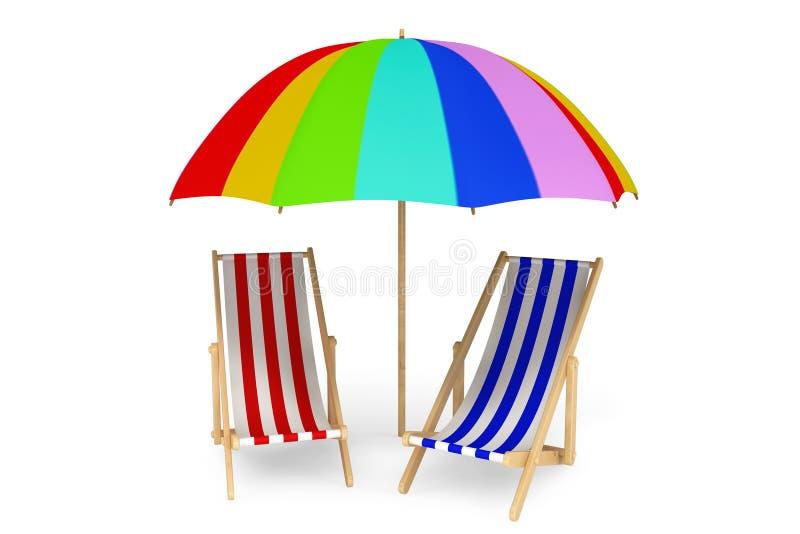 Zwei Strandstühle unter Sonnenschutz lizenzfreie abbildung