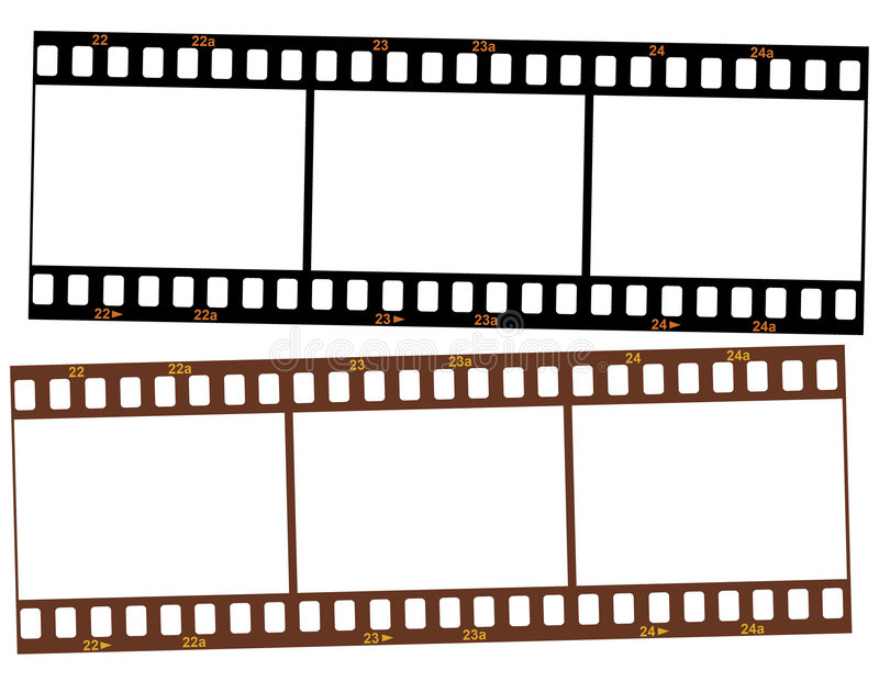 Zwei Streifen 35mm Transparentfilm stock abbildung