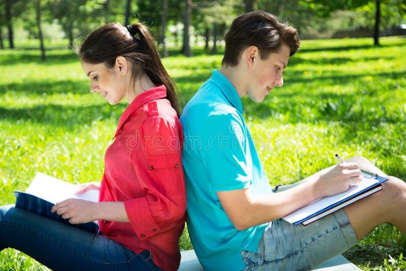 Zwei Studenten, die im Park auf Gras studieren stockfotografie