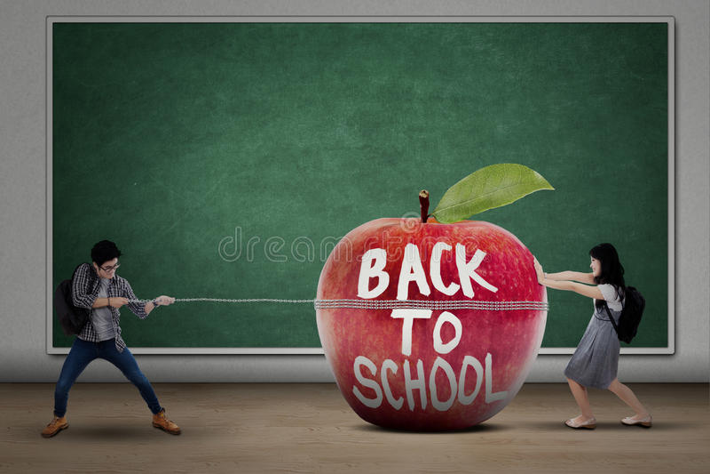 Zwei Studenten zurück zu Schule lizenzfreies stockbild