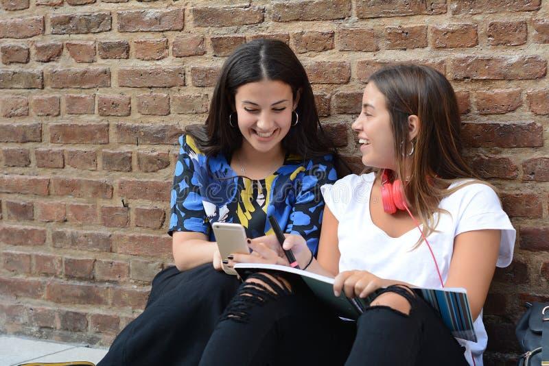 Zwei Studentinnen bereiten sich für Prüfungen vor stockfoto