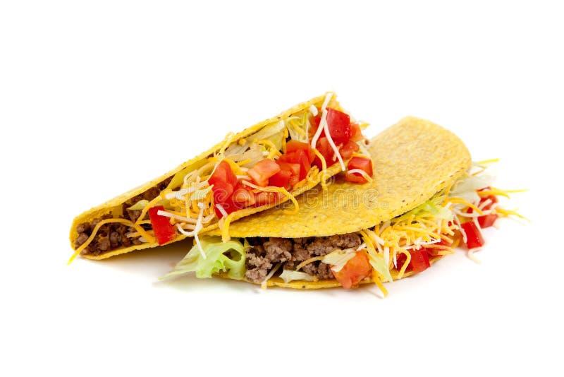 Zwei Tacos auf einem weißen Hintergrund lizenzfreie stockfotografie
