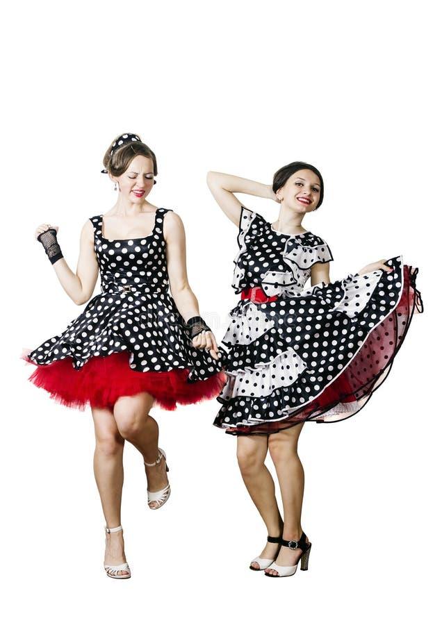 Zwei Tanzenmädchen Pin-oben lizenzfreie stockfotos