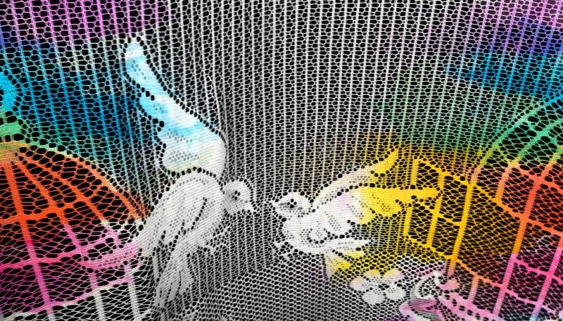 Zwei Tauben auf Spitzengardine lizenzfreie stockfotografie