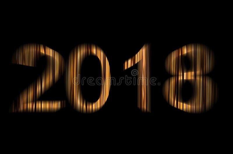 2018 zwei tausend und achtzehn neues Jahr und Weihnachten, Goldzahlen hölzerne Beschaffenheit auf einem schwarzen Hintergrundbewe vektor abbildung