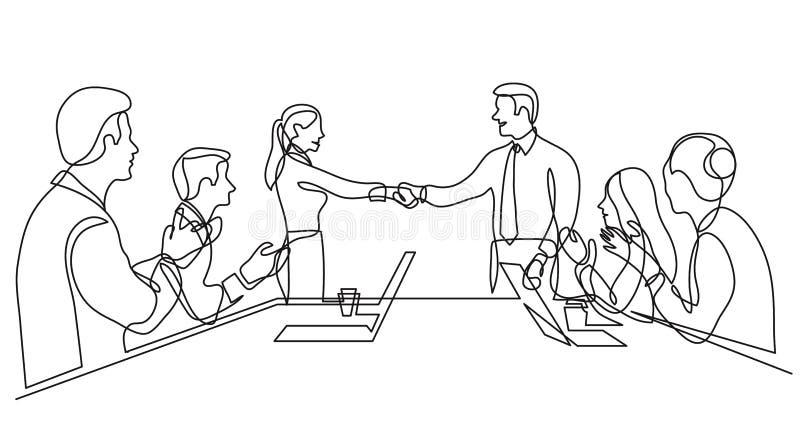 Zwei Teammitglieder, die H?nde vor Arbeitsteam - Federzeichnung der einzelnen Zeile r?tteln lizenzfreie abbildung