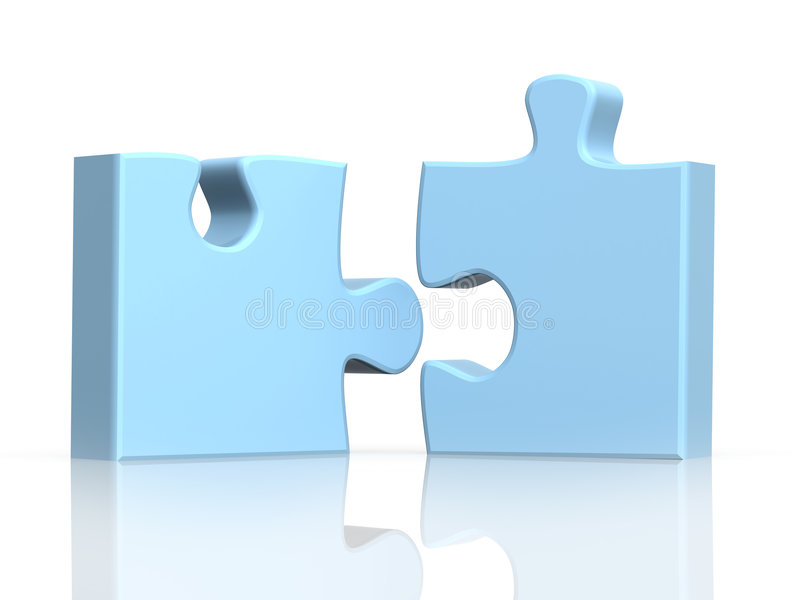 Zwei Teile eines Puzzlespiels lizenzfreie abbildung