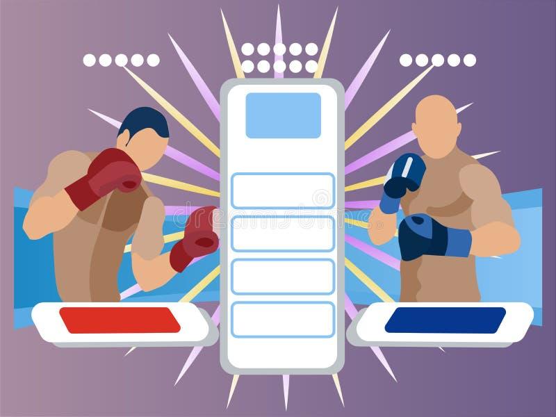 Zwei Teilnehmer an den Kampf Die Darstellung der Boxer Anzeigetafel in der unbedeutenden Art Flacher isometrischer Raster stock abbildung