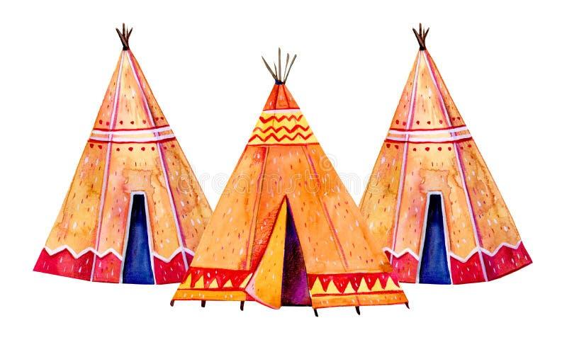 Zwei Tipi des amerikanischen Ureinwohners Stilisierte Handgezogener Aquarell-Illustrationssatz lizenzfreie abbildung